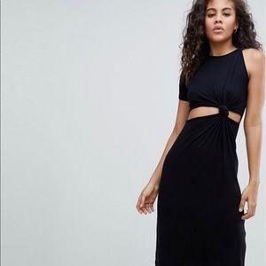 ASOS Tall knot detail midi dress (black)